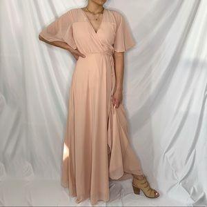 NWT Boohoo Blush Chiffon Wrap Flowy Maxi Dress 4
